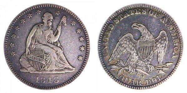 1843 O Seated Liberty Quarter
