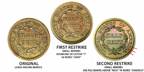 1843 Original vs First Restrike vs Second Restrike Braided Hair Half Cent - Difference and Comparison
