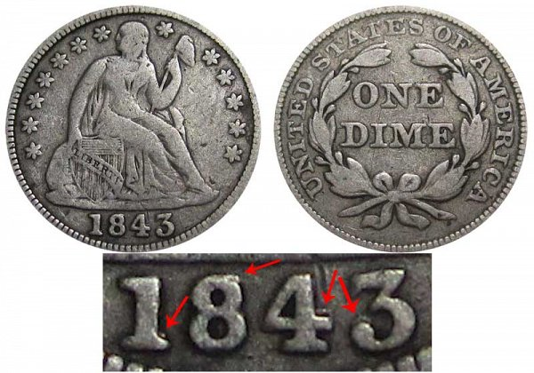 1843 Over 1843 RPD Seated Liberty Dime - Repunched Date Error