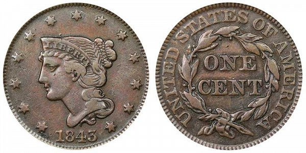 1843 Braided Hair Large Cent Penny - Petite Head Large Letters