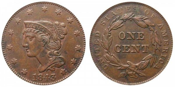 1843 Braided Hair Large Cent Penny - Petite Head Small Letters