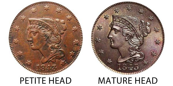 1843 Petite Head vs Mature Head - Braided Hair Large Cent Penny