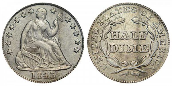 1843 Seated Liberty Half Dime