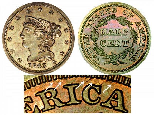1843 Braided Hair Half Cent Penny - Second Restrike