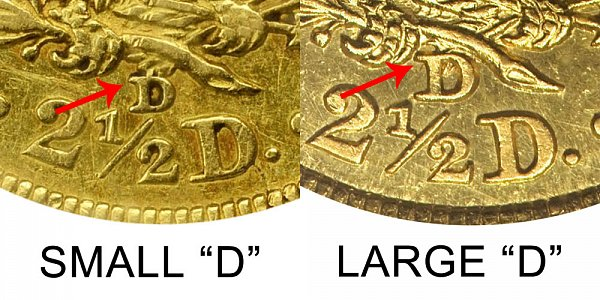 1843 Small D vs Large D Liberty Head $2.50 Gold Quarter Eagle - Difference and Comparison