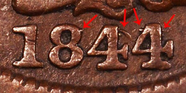1844/81 Braided Hair Large Cent Penny - 44 Over 81 Overdate Error