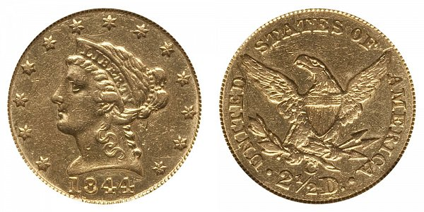 1844 C Liberty Head $2.50 Gold Quarter Eagle - 2 1/2 Dollars