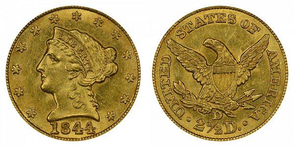 1844 D Liberty Head $2.50 Gold Quarter Eagle - 2 1/2 Dollars