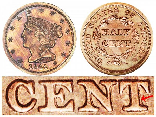 1844 Braided Hair Half Cent Penny - First Restrike