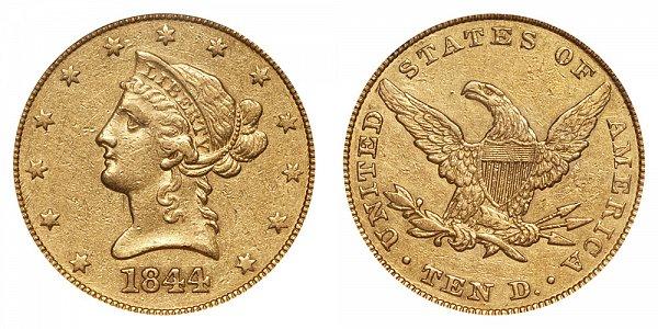 1844 Liberty Head $10 Gold Eagle - Ten Dollars