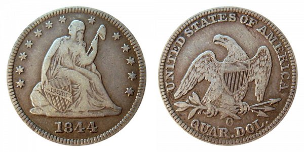 1844 O Seated Liberty Quarter