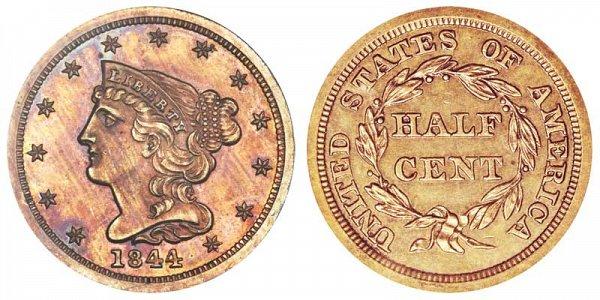 1844 Braided Hair Half Cent Penny - Original