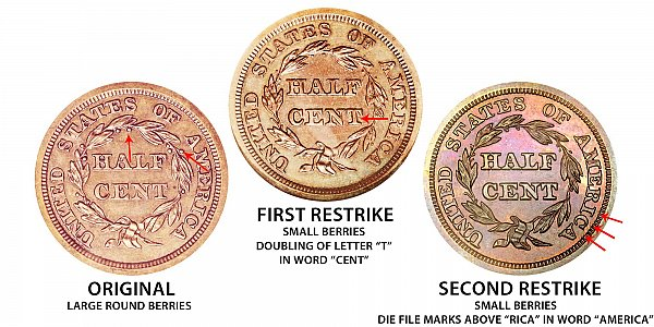 1844 Original vs First Restrike vs Second Restrike Braided Hair Half Cent - Difference and Comparison