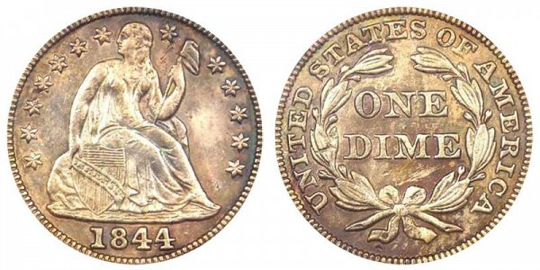 1844 Seated Liberty Dime