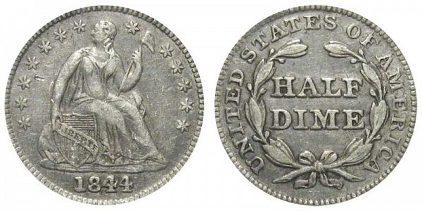 1844 Seated Liberty Half Dime