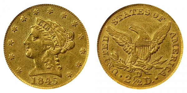 1845 D Liberty Head $2.50 Gold Quarter Eagle - 2 1/2 Dollars