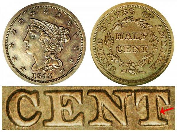 1845 Braided Hair Half Cent Penny - First Restrike
