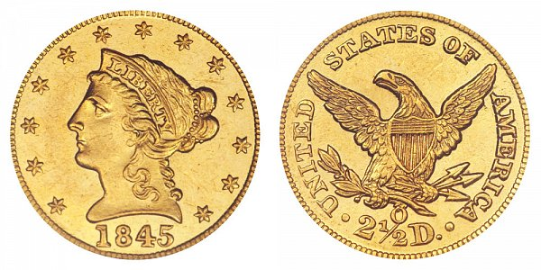 1845 O Liberty Head $2.50 Gold Quarter Eagle - 2 1/2 Dollars