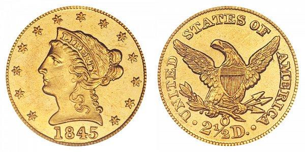 1845 O Liberty Head $2.50 Gold Quarter Eagle - 2 1/2 Dollars