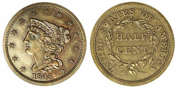 1845 Braided Hair Half Cent Penny - Original