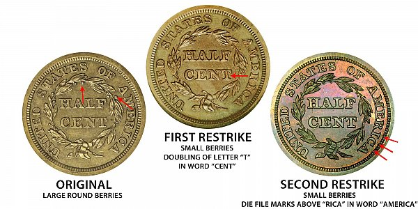 1845 Original vs First Restrike vs Second Restrike Braided Hair Half Cent - Difference and Comparison