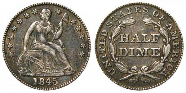 1845 Seated Liberty Half Dime