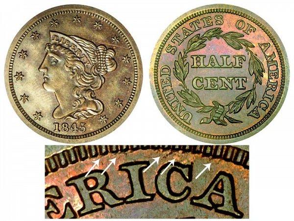 1845 Braided Hair Half Cent Penny - Second Restrike
