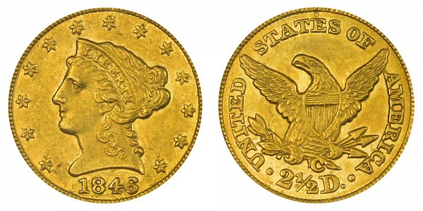 1846 C Liberty Head $2.50 Gold Quarter Eagle - 2 1/2 Dollars