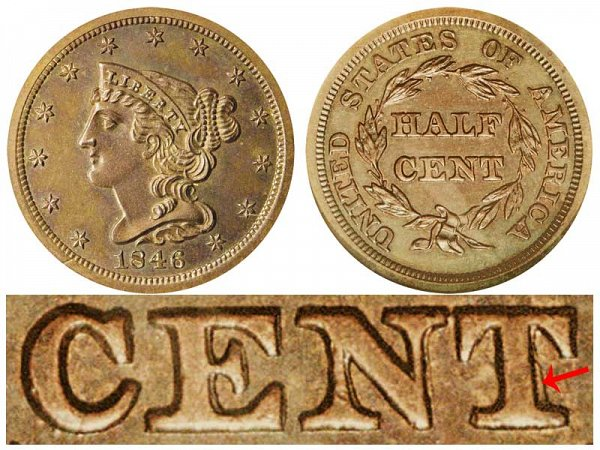 1846 Braided Hair Half Cent Penny - First Restrike