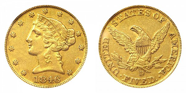 1846-D/D Liberty Head $5 Gold Half Eagle - Five Dollars - High D Over D