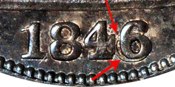 1846 Seated Liberty Half Dollar - Horizontal 6 Error