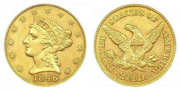 1846 Liberty Head $2.50 Gold Quarter Eagle - 2 1/2 Dollars