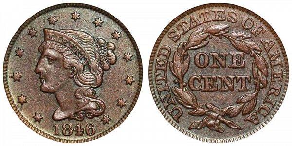 1846 Braided Hair Large Cent Penny - Medium Date