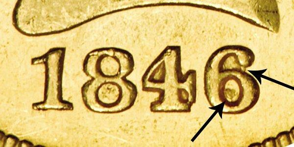 1846/5 Liberty Head Gold Eagle - 6 Over 5 Overdate - Closeup Example Image
