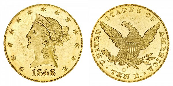 1846/5 O Liberty Head $10 Gold Eagle - 6 Over 5 - Ten Dollars