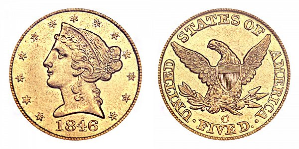 1846 O Liberty Head $5 Gold Half Eagle - Five Dollars