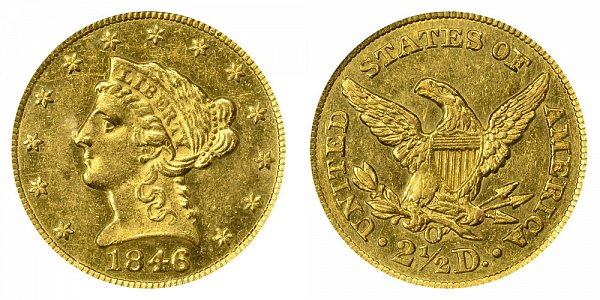 1846 O Liberty Head $2.50 Gold Quarter Eagle - 2 1/2 Dollars