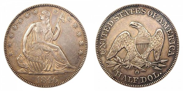 1846 O Seated Liberty Half Dollars Tall Date Value And Prices