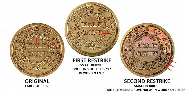 1846 Original vs First Restrike vs Second Restrike Braided Hair Half Cent - Difference and Comparison