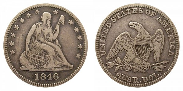 1846 Seated Liberty Quarter