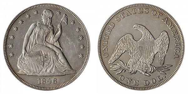 1846 Seated Liberty Silver Dollar Coin Value Prices