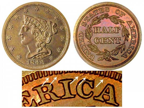 1846 Braided Hair Half Cent Penny - Second Restrike