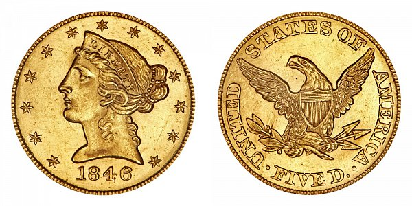 1846 Liberty Head $5 Gold Half Eagle - Five Dollars - Small Date