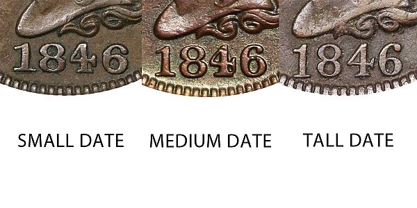 1846 Braided Hair Large Cent Penny - Small Date vs Medium Date vs Large Date