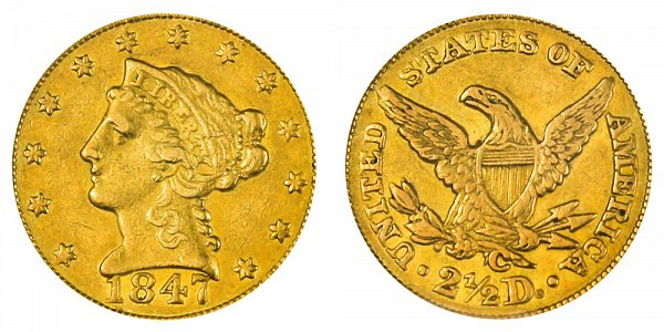 1847 C Liberty Head $2.50 Gold Quarter Eagle - 2 1/2 Dollars