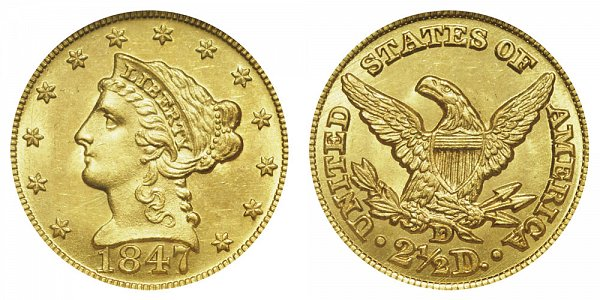 1847 D Liberty Head $2.50 Gold Quarter Eagle - 2 1/2 Dollars