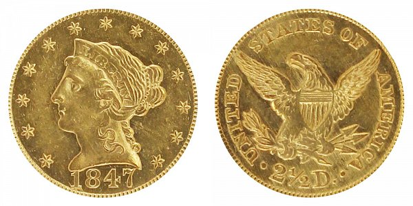 1847 Liberty Head $2.50 Gold Quarter Eagle - 2 1/2 Dollars