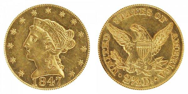 1847 Liberty Head $2.50 Gold Quarter Eagle - 2 1/2 Dollars