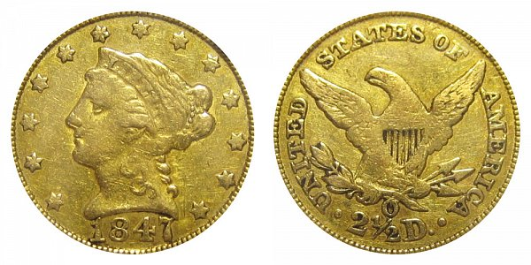 1847 O Liberty Head $2.50 Gold Quarter Eagle - 2 1/2 Dollars