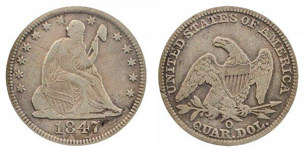 1847 O Seated Liberty Quarter